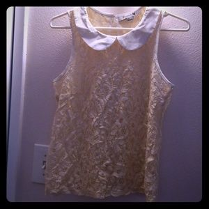 Forever 21 peter pan collar peach lace top small